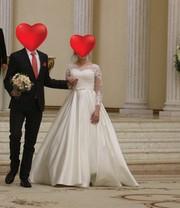 Продам свадебное платье с атласной юбкой б/у( из салона Wedding House)